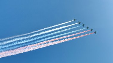 Russian army military jets during military parade