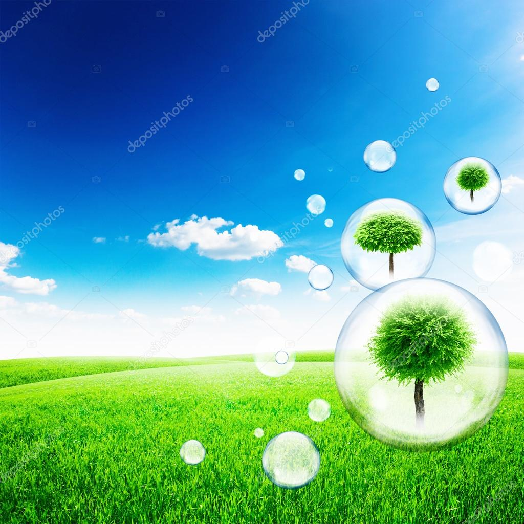Trees inside soap bubbles in green field and blue sky background — Stock Photo #13509860
