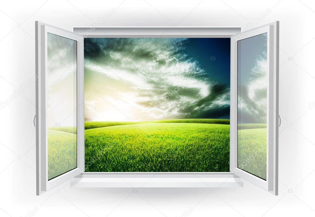 Open window with green field under sunset sky on a background — Stock Photo #13509962
