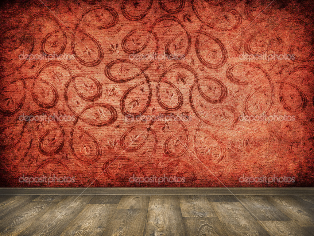 Red patterns vintage interior with wood floor background  Stock Photo #13778875