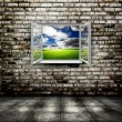 Open window from old room with landscape - Stock Photo