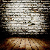 Room. The brown brick texture and wood floor with natural patterns background — Stock Photo