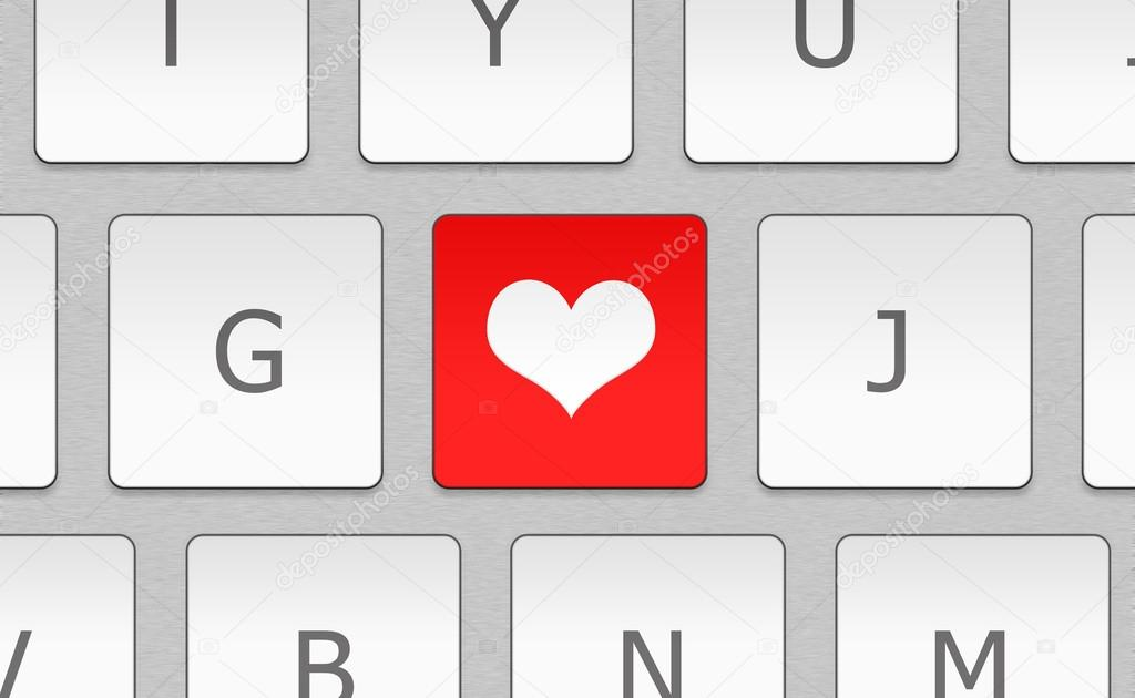 Close-up white keyboard with heart sign. Love concept — Stock Photo #15353749