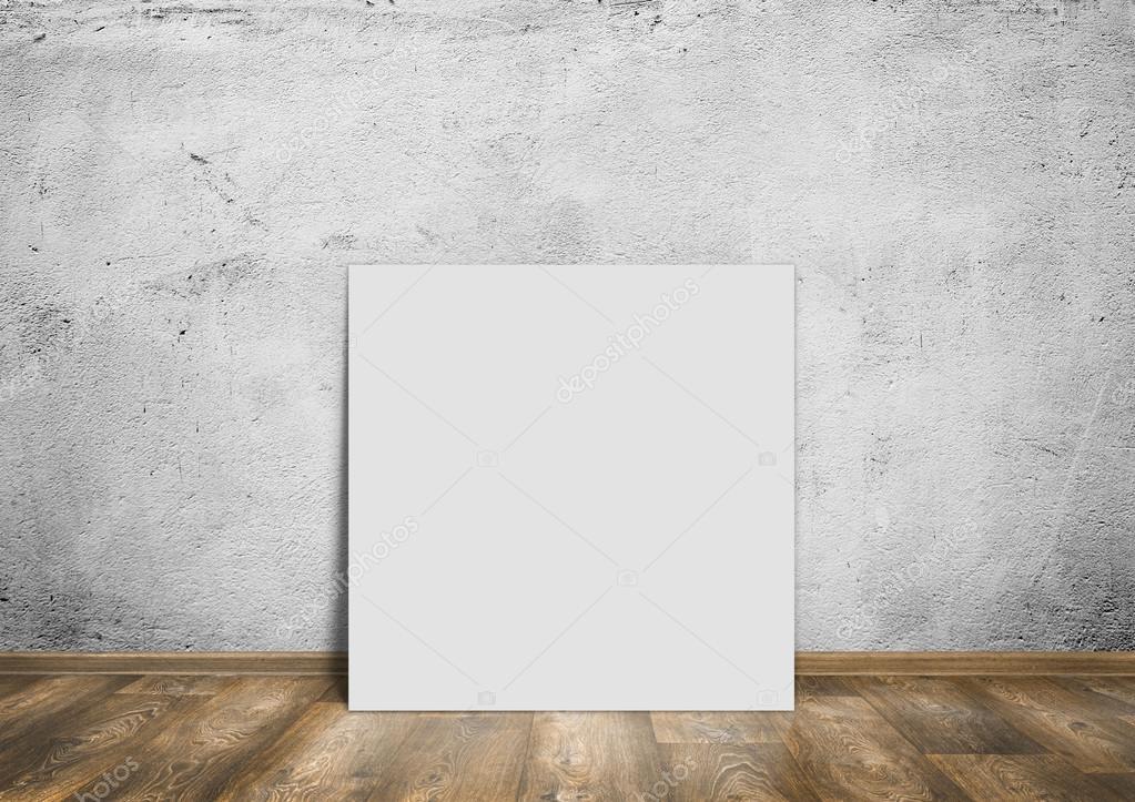 木地板和白色空白标语背景