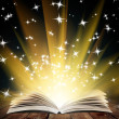 Old open book with magic light and falling stars  — Stock Photo