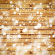 The brown wood texture with white snow.  — Stock Photo