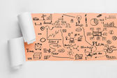 Cracked paper with business sketches — Stock Photo