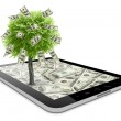 Black tablet pc with dollars and money tree — Stock Photo