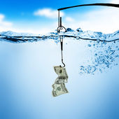 Fishing line and hook with dollar bill — Stock Photo