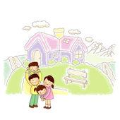 Casa di famiglia felice — Vettoriale Stock
