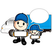 Trucks and Delivered to Father and Son — Stock Vector