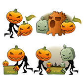 Halloween Day Pumpkin Dreary Illustrations — Stock Vector