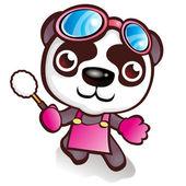 Panda karakter die houdt van te vegen — Stockvector