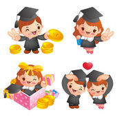 Graduation related event character — Stock Vector
