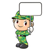 The character of a soldier holding signs — Stock Vector