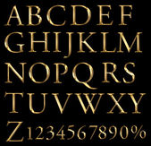 A large number of 3d Gold alphabet spelling art array — Stock Photo
