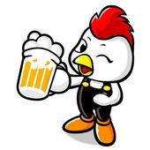 Drinking Beer Bhicken Character — Stock Vector