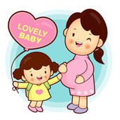 Joyful daughter and pregnant women. — Stock Vector