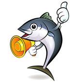 Loudspeaker to promote tuna. Tuna Character — Stock Vector