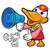 Alto-falante para promover o pato de coreia. um caractere de pato — Vetorial Stock