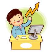 Transactions boursières est un homme d'affaires — Vecteur