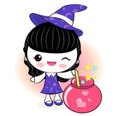 Love potions to make little witch. Little Witch Character — Stock Vector