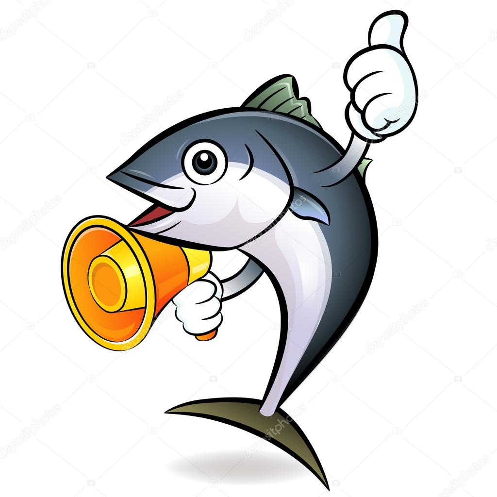 The loudspeaker is to promote to the tuna. Tuna Character — Stock Vector #13344344