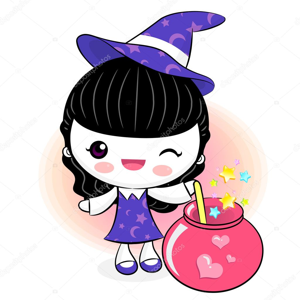 Love potions to make little witch. Little Witch Character — Stock Vector #13344406