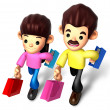 I like shopping for couples, 3D Family Character — Stock Photo