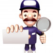 Stock Photo: Business card service man. 3D Business Character