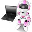 图库照片: Pink Robot to promote notebook. 3D Robot Character