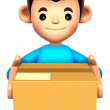 Man holding the delivery box. 3D Children Character — Stock Photo #13595529