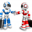 Shake hands with the red robots and the blue robots. 3D Robot Ch — Stock Photo
