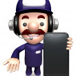 Smartphone showing service man. 3D Business Character — Stock Photo