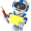 Blue robot Grasp pencil and board. 3D Robot Character — Stock Photo #13595562