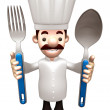 Chef Grasp a spoon and fork in both hands. 3D Chef Character — Stock Photo