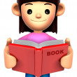 A woman reported a book. 3D Family Character — Stock Photo