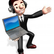 Stock Photo: The laptop sale shop staff grasp. 3D Business Character
