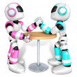 Scientology robot arm wrestling showdown with magenta Robot — Stock Photo