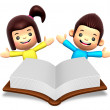 Royalty-Free Stock Photo: A boys and girls in the big book reading. 3D Children Character