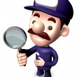 Bad check a Magnifying glass the service man. 3D Service Man Cha — Stock Photo