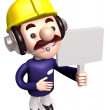 Workers Grasp signpost. 3D construction works Character — Stock Photo #13595579