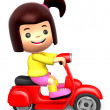 Red motorcycle ride travel girls. 3D Children Character — Stock Photo