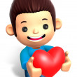 A Man Grasp a Heart. 3D Children Character — Stock Photo