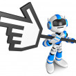 Stock Photo: That blue robot holding large cursor indicate direction.