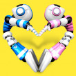 Stock Photo: Heart in form of body language. 3D Robot Character