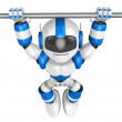 The pull up to blue robot, A chin up. 3D Robot Character — Stock Photo