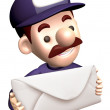 Service man Grasp a big letter. 3D Service Man Characte — Stock Photo