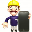 Stock Photo: Staff to promote mobile phone. 3D Sales MCharacter