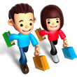 Walking down The boys and girls carrying a Shopping Bag — Stock Photo